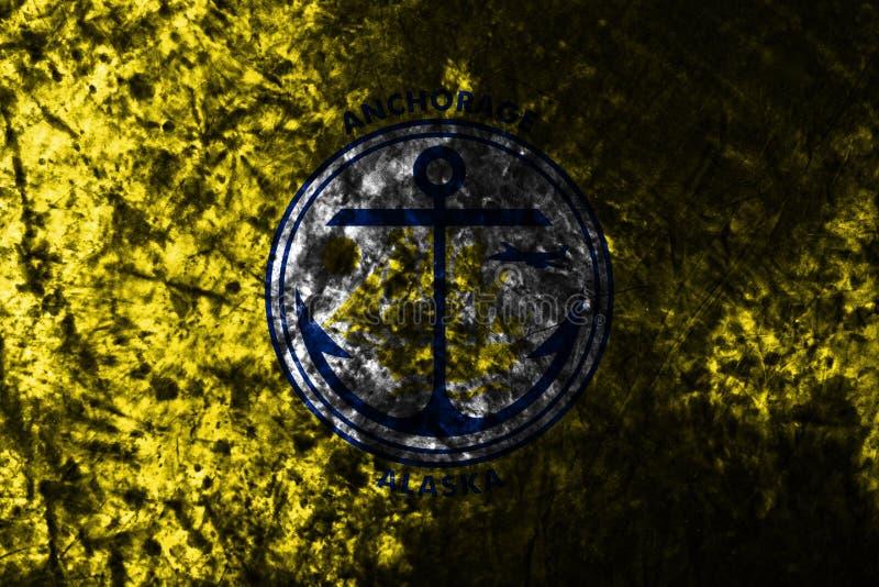Flagga för ankringstadsgrunge på den gamla smutsiga väggen, Alaska stat, Förenta staterna av Americ arkivbilder