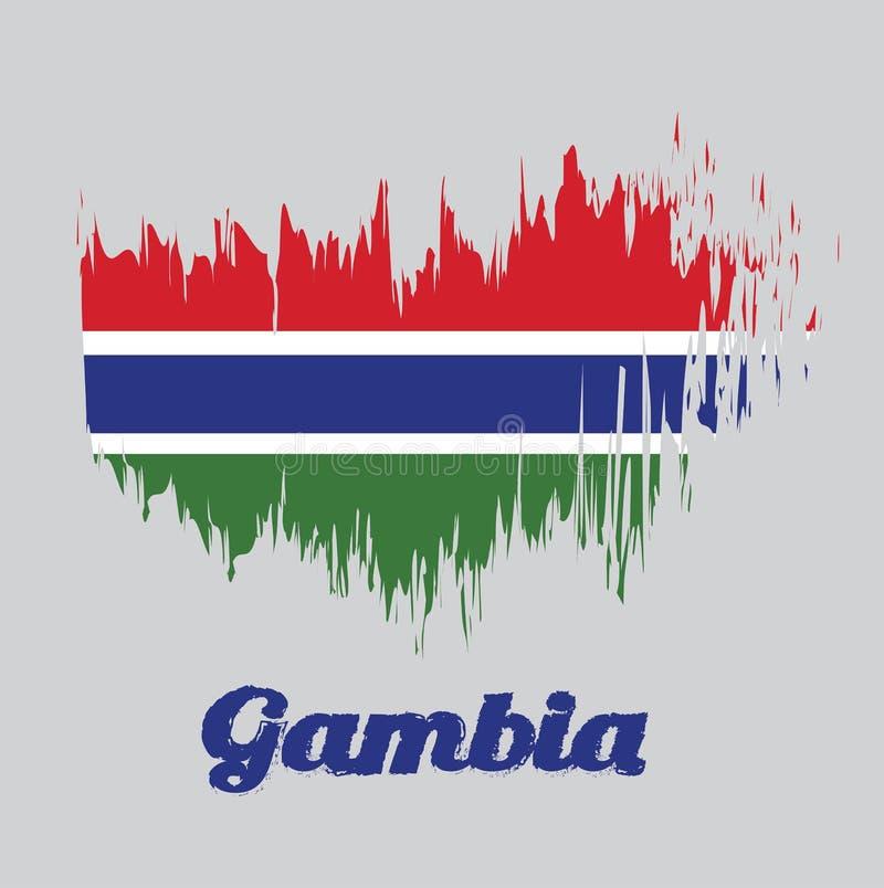 Flagga för borstestilfärg av Gambia, röda blått och grön färg och avskilt av en narrowband av vit vektor illustrationer