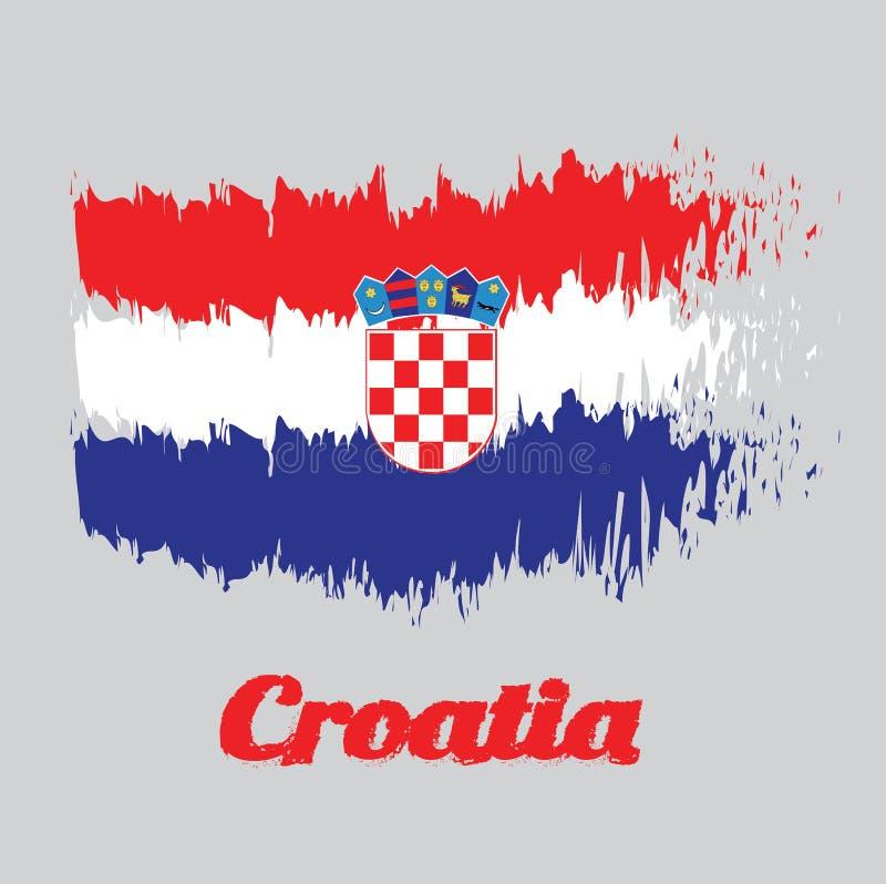 Flagga för borstestilfärg av Kroatien, röd vit och blått med vapenskölden av Kroatien stock illustrationer