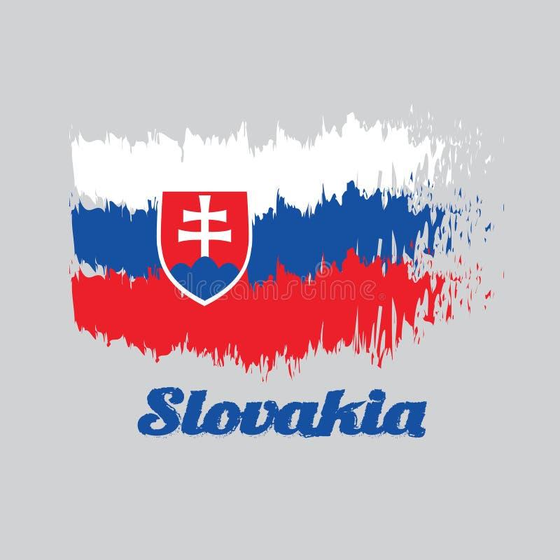 Flagga för borstestilfärg av slovakiska, vitblått och rött; laddat med en sköld som innehåller ett vitt kors, förläggas till väns stock illustrationer