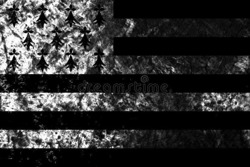 Flagga för Brittany grungebakgrund, beroende territoriumflagga fotografering för bildbyråer