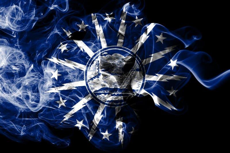Flagga för buffelstadsrök, New York stat, Amerikas förenta stater vektor illustrationer