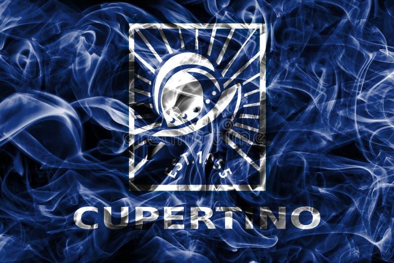 Flagga för Cupertino stadsrök, Kalifornien stat, Förenta staterna av f.m. fotografering för bildbyråer