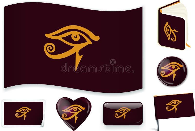 Flagga för egyptisk välde Vektorillustration 3 lager Skuggor, plan flagga, ljus och skuggor vektor illustrationer