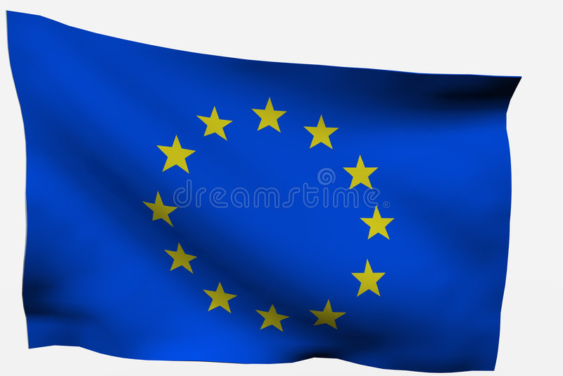 flagga för eu 3d royaltyfri illustrationer