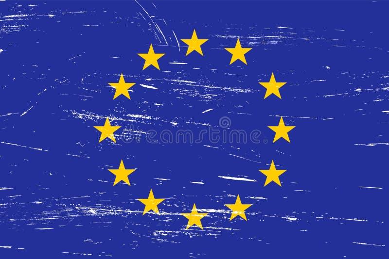 Flagga för europeisk union för tappning med grungetextur stock illustrationer