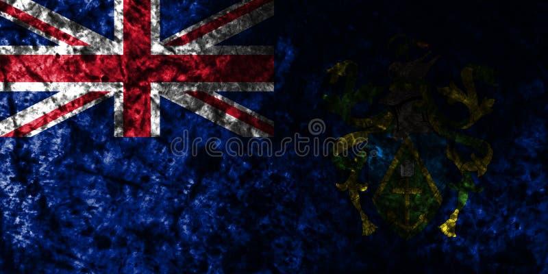 Flagga för grunge för Pitcairn öar på den gamla smutsiga väggen, beroende territorium flagga för brittiska utländska territorier, vektor illustrationer