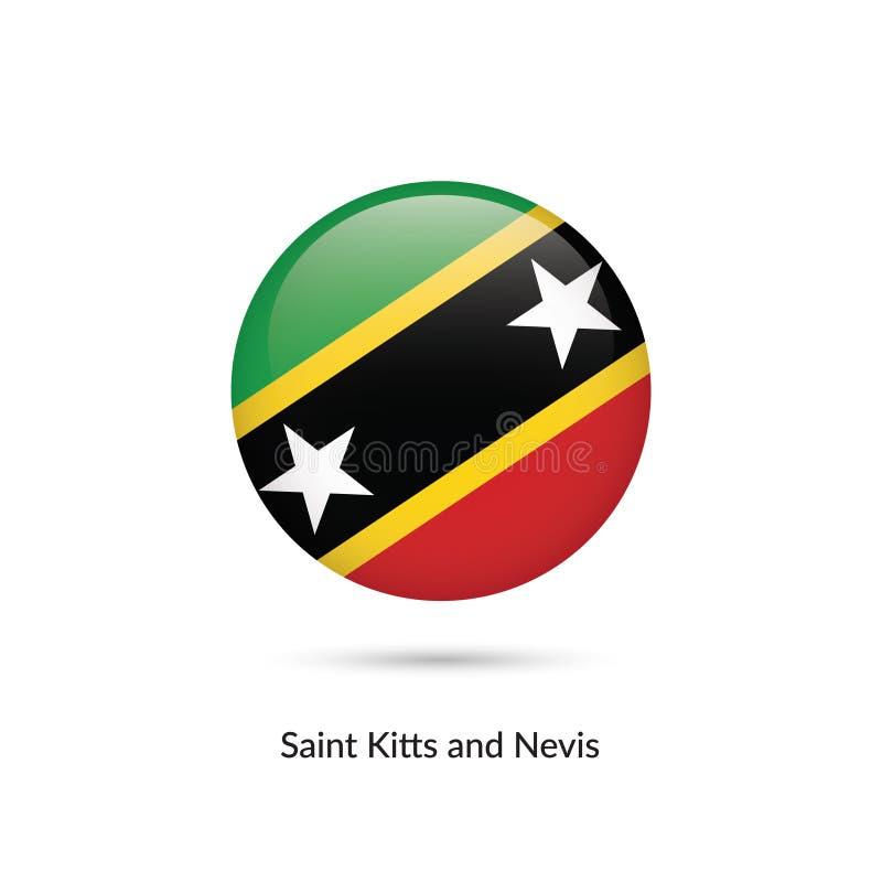Flagga för helgon Kitts och Nevis - rund glansig knapp royaltyfri illustrationer