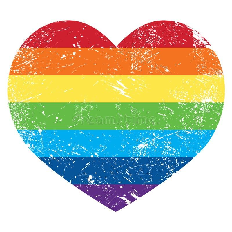 Flagga för hjärta för regnbåge för glade rätter retro