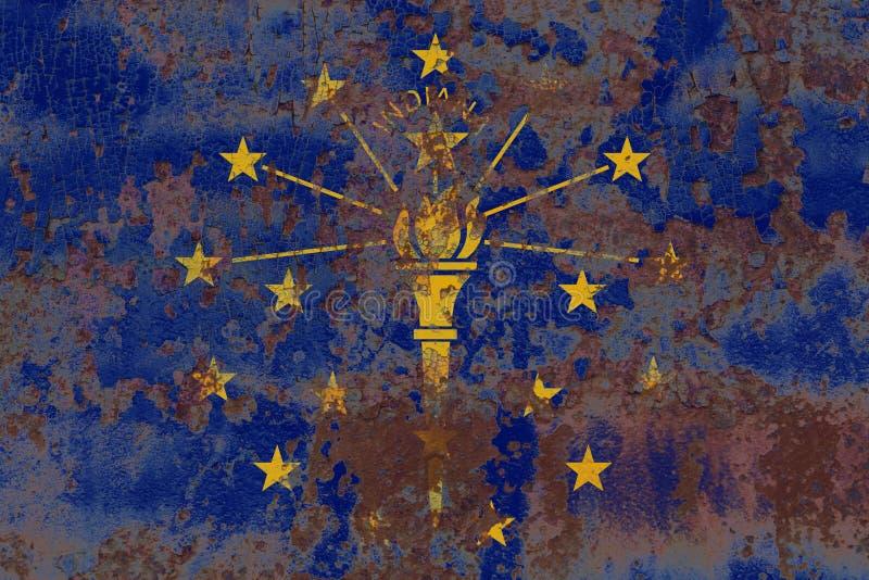 Flagga för Indiana statgrunge, Amerikas förenta stater arkivbild
