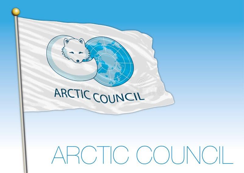 Flagga för internationell organisation för arktiskt råd stock illustrationer