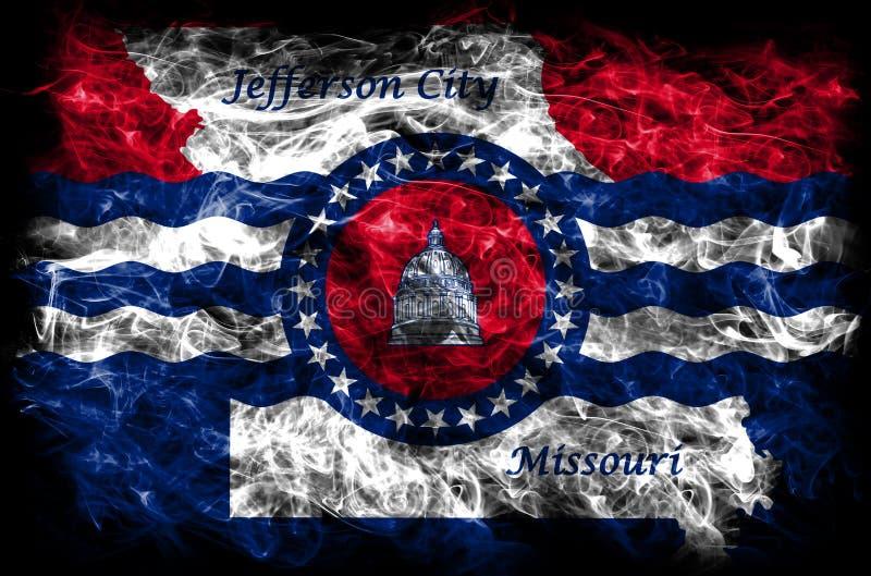 Flagga för Jefferson City stadsrök, Missouri stat, Förenta staterna av arkivfoto