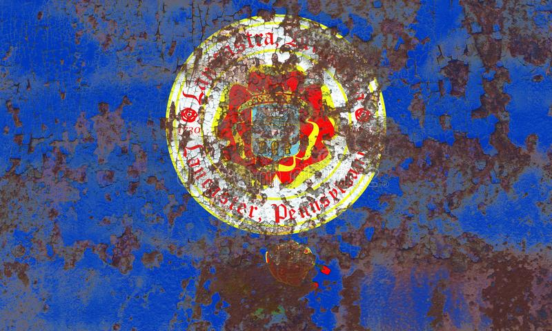 Flagga för Lancaster stadsrök, Pennsylvania stat, Förenta staterna av fotografering för bildbyråer