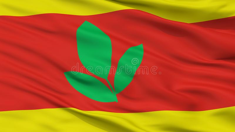 Flagga för Makedonski Brod kommunstad, Makedonien, Closeupsikt royaltyfria bilder