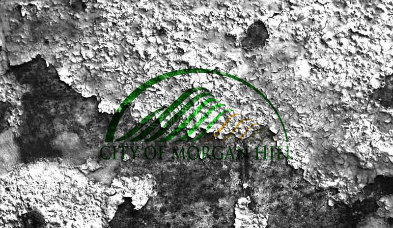 Flagga för Morgan Hill stadsrök, Kalifornien stat, Förenta staterna av arkivfoton