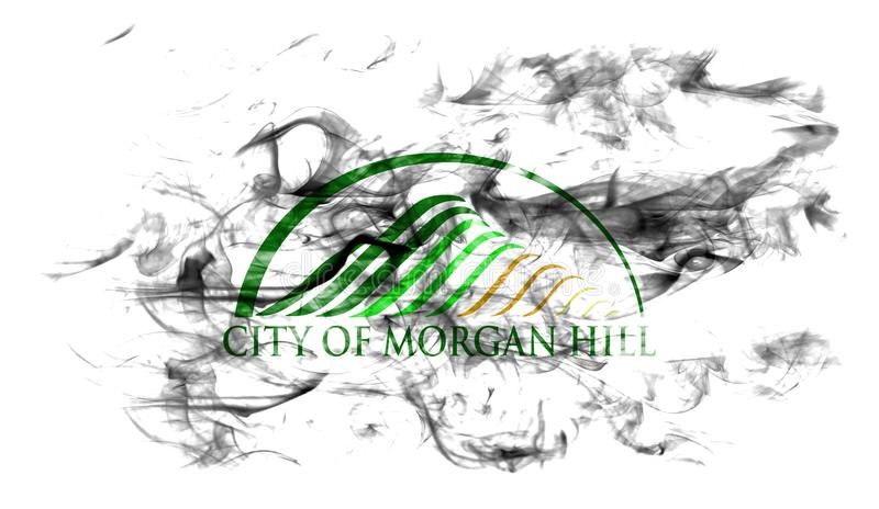Flagga för Morgan Hill stadsrök, Kalifornien stat, Förenta staterna av arkivfoto