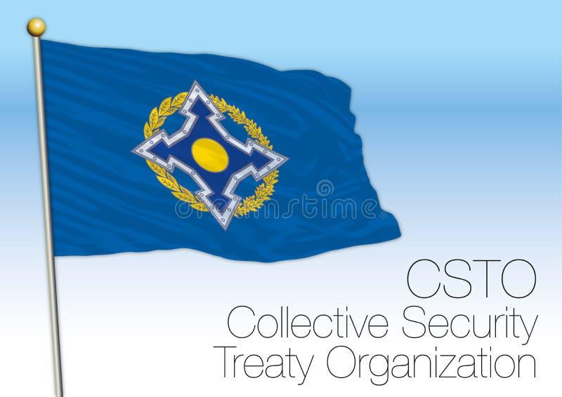 Flagga för organisation för fördrag för kollektiv säkerhet för CSTO royaltyfri illustrationer