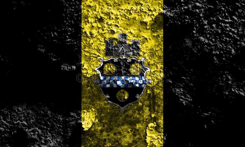 Flagga för Pittsburgh stadsrök, Pennsylvania stat, Förenta staterna av arkivfoto
