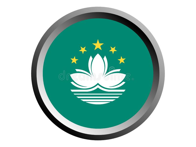 flagga för runda 3D av Macao stock illustrationer