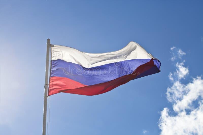 Flagga för rysk federation på bakgrund för blå himmel royaltyfri foto