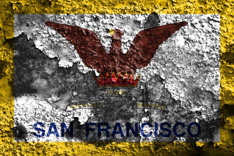 Flagga för San Francisco stadsrök, Kalifornien stat, Förenta staternanolla royaltyfri fotografi