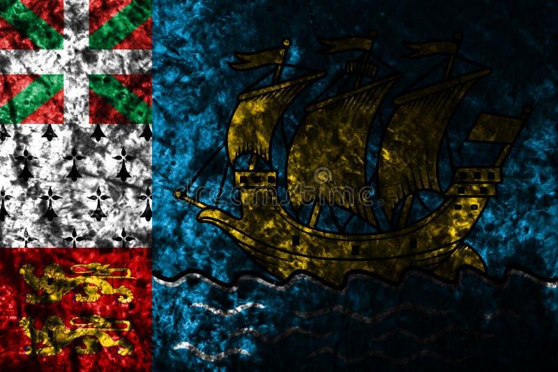 Flagga för St Pierre-miquelon grungebakgrund, Frankrike anhörigterritor vektor illustrationer