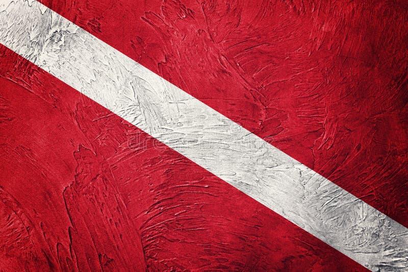 Flagga för tappningstildykapparat Dykaren sjunker ner royaltyfria bilder