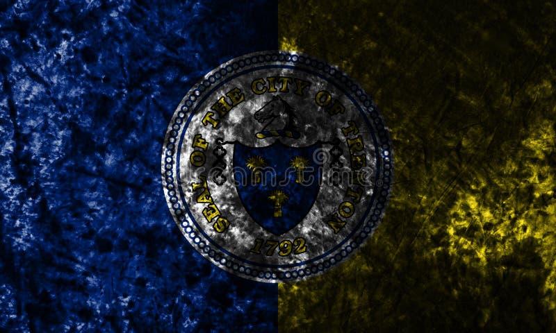 Flagga för Trenton stadsgrunge som är ny - ärmlös tröjatillstånd, Amerikas förenta stater royaltyfri illustrationer