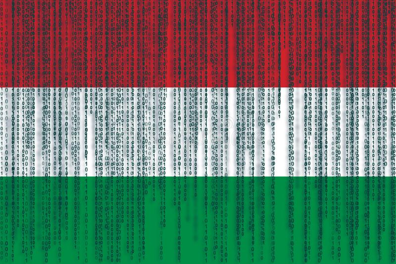 Flagga för Ungern för dataskydd Ungersk flagga med binär grunge royaltyfri illustrationer