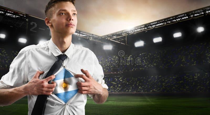 Flagga för visning för Argentina fotboll- eller fotbollsupporter royaltyfria foton