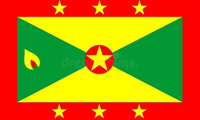 flagga grenada royaltyfri illustrationer