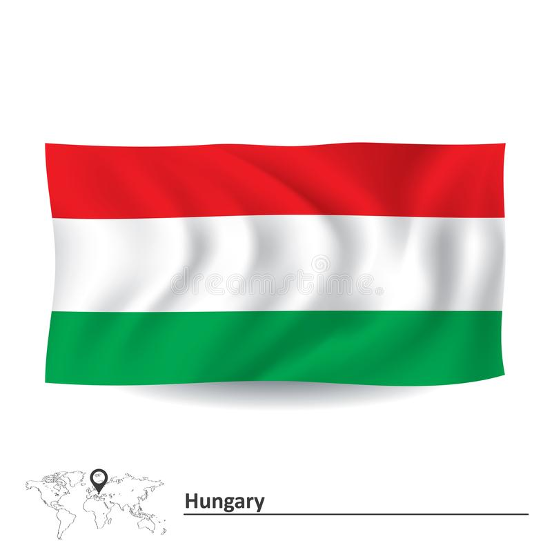 flagga hungary vektor illustrationer