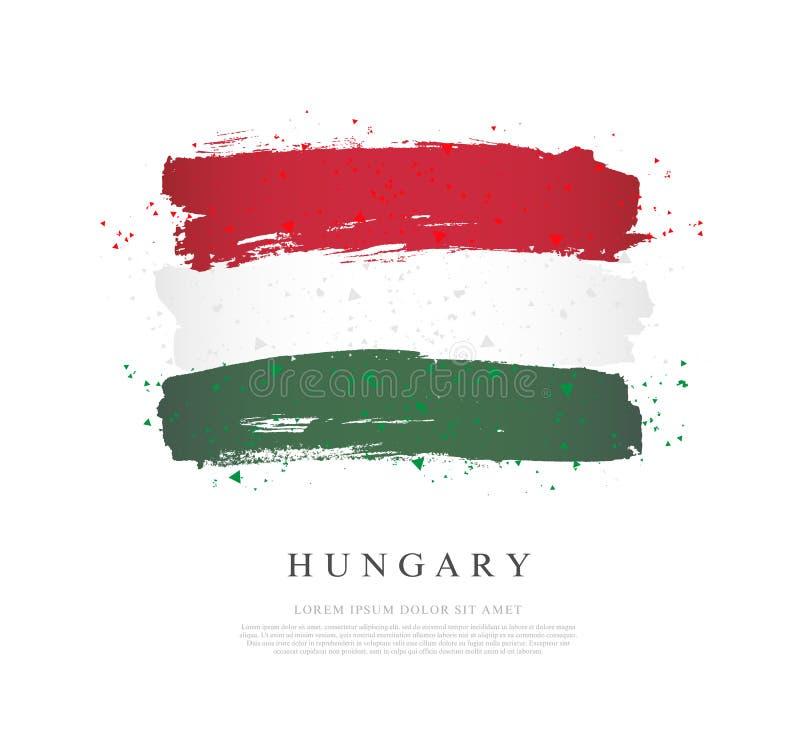 flagga hungary Borsteslaglängder dras av handen vektor illustrationer