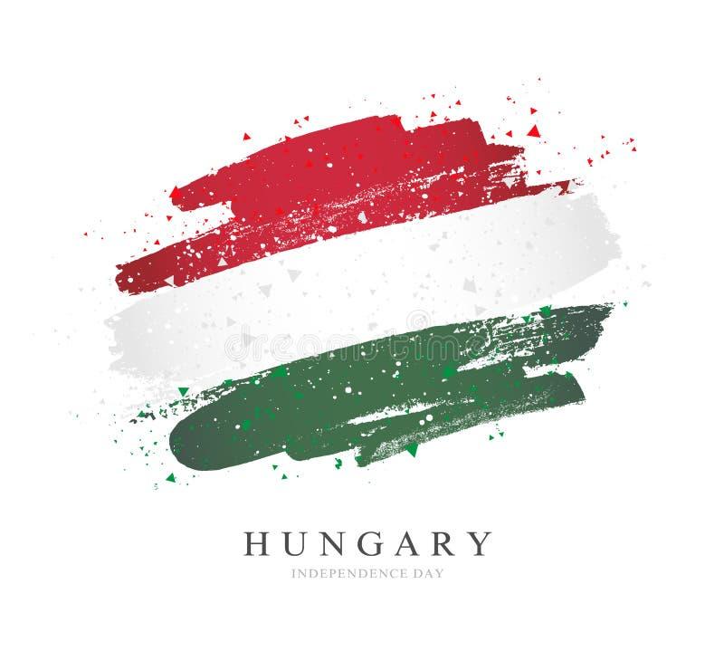 flagga hungary Vektorillustration p? en vit bakgrund stock illustrationer