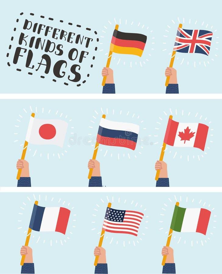 Flagga i uppsättning för handrundasymboler Människan räcker innehavflaggor av olika länder, vektorillustration royaltyfri illustrationer