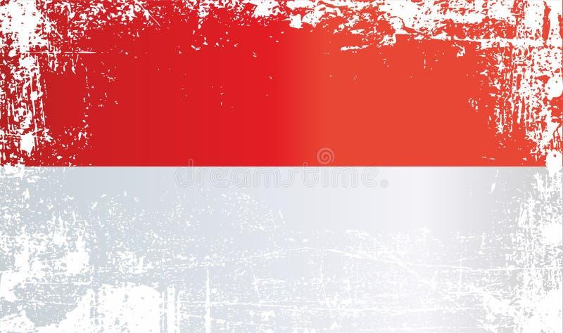 flagga indonesia Rynkiga smutsiga fläckar vektor illustrationer