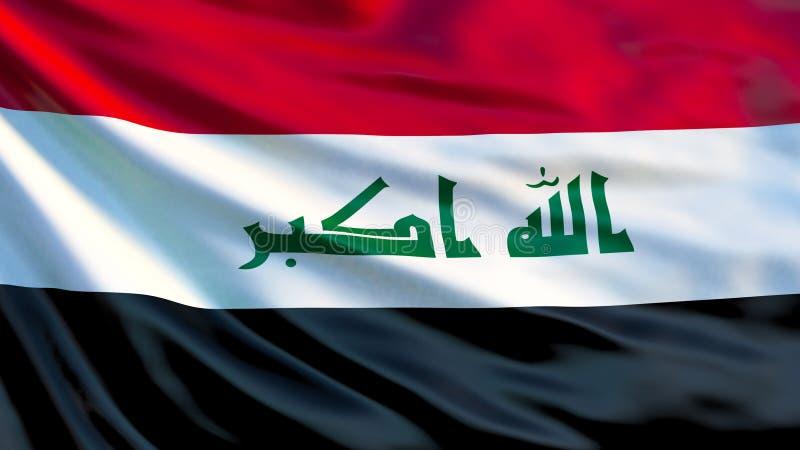 flagga iraq Vinkande flagga av den Irak 3d illustrationen vektor illustrationer