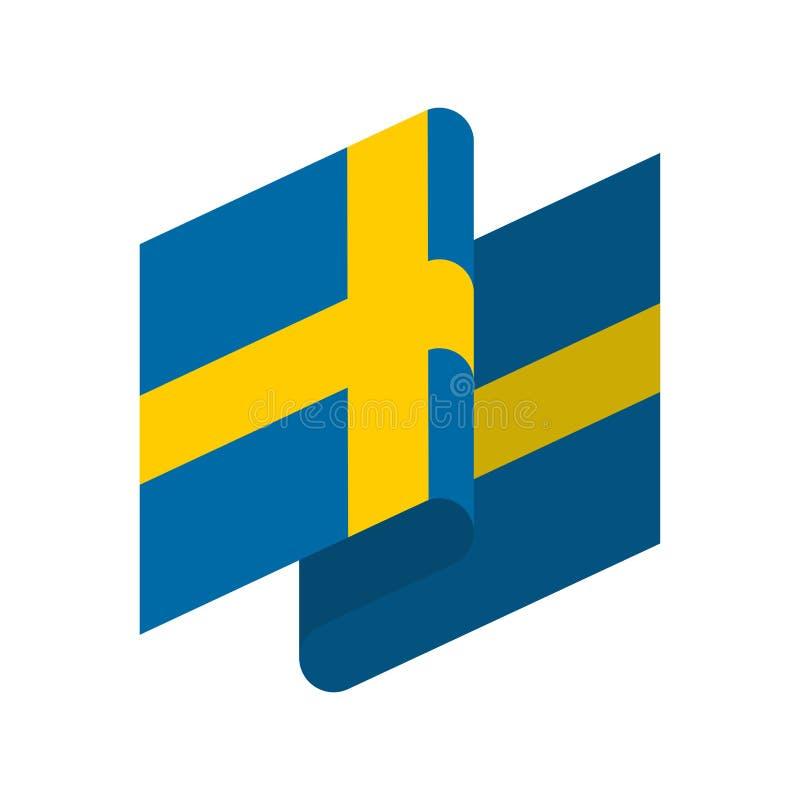 flagga isolerade sweden Svenskt bandbaner Statligt symbol royaltyfri illustrationer
