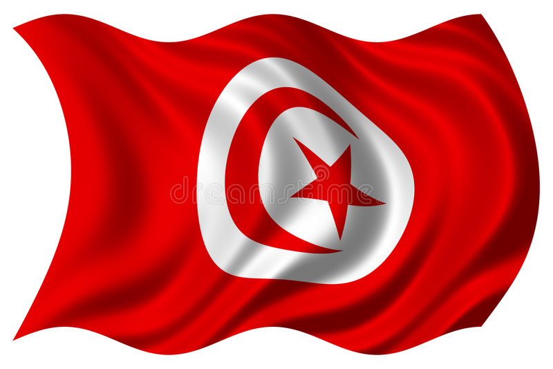 flagga isolerade tunisia royaltyfri illustrationer