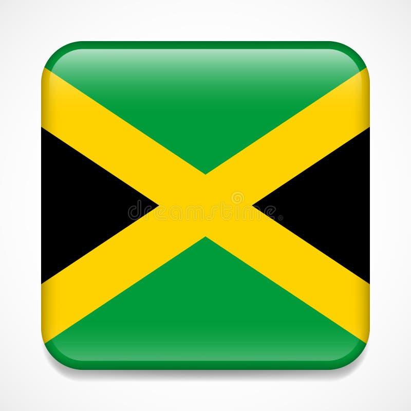 flagga jamaica Glansigt emblem för fyrkant vektor illustrationer