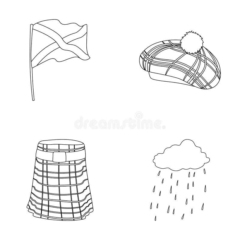 Flagga kilt, regnigt väder, lock r stock illustrationer