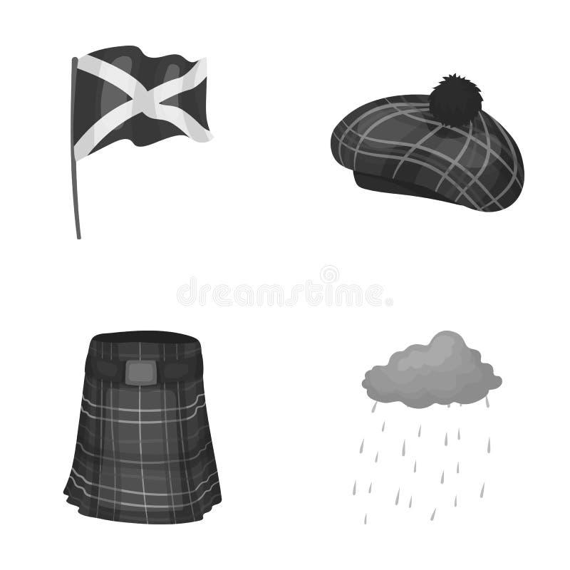 Flagga kilt, regnigt väder, lock Symboler för samling för Skottland landsuppsättning i monokromt materiel för stilvektorsymbol vektor illustrationer
