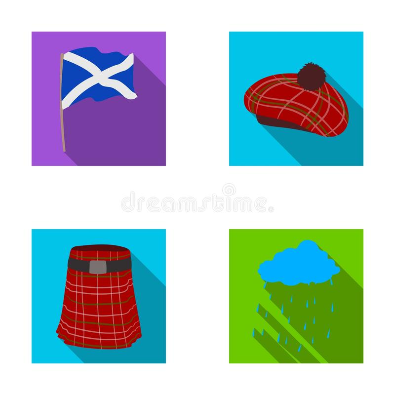 Flagga kilt, regnigt väder, lock Symboler för samling för Skottland landsuppsättning i plant stilvektorsymbol lagerför illustrati royaltyfri illustrationer