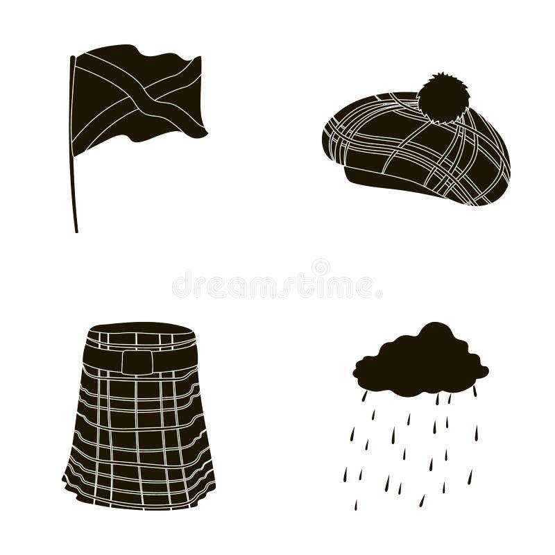 Flagga kilt, regnigt väder, lock Symboler för samling för Skottland landsuppsättning i svart stilvektorsymbol lagerför illustrati stock illustrationer