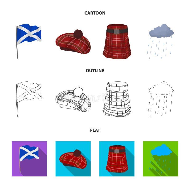 Flagga kilt, regnigt väder, lock Symboler för samling för Skottland landsuppsättning i tecknade filmen, översikt, materiel för sy vektor illustrationer