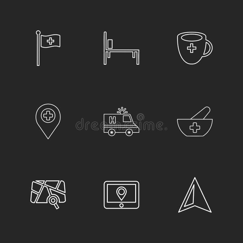 flagga läkarundersökning, säng, kopp, navigering, ambulans, hälsa, pilbåge royaltyfri illustrationer