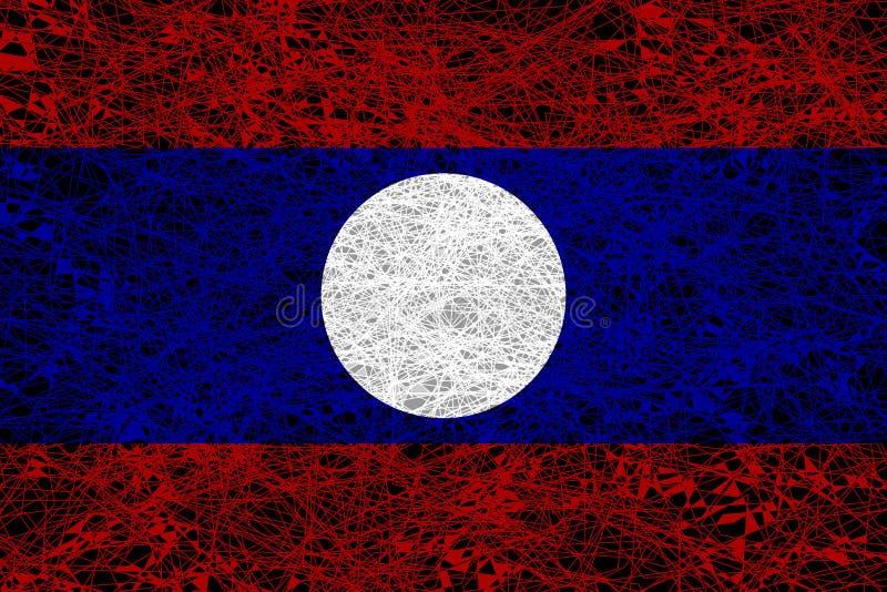 flagga laos royaltyfri illustrationer