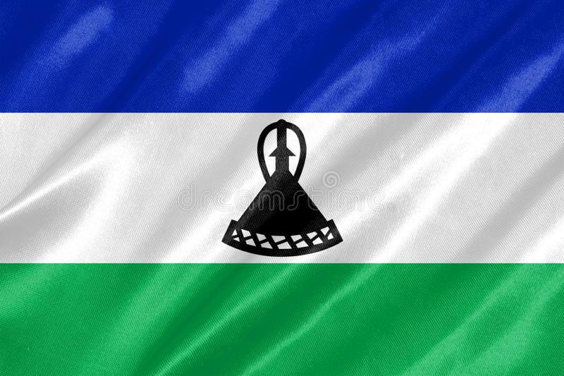 flagga lesotho royaltyfri illustrationer