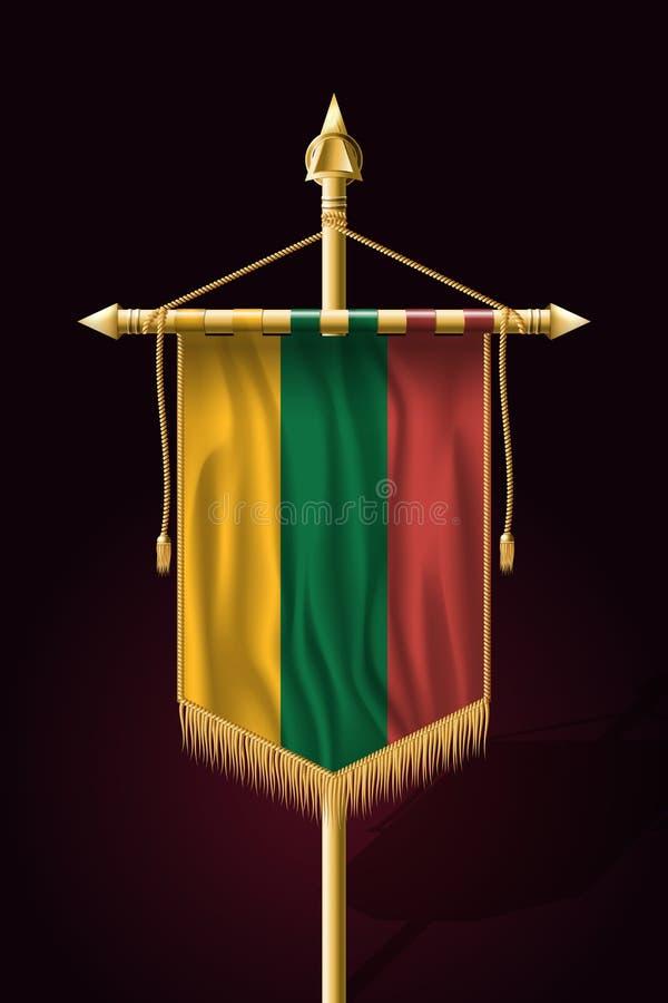 flagga lithuania Festligt vertikalt baner Vägggobeläng royaltyfri illustrationer