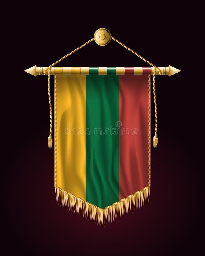 flagga lithuania Festligt vertikalt baner Vägggobeläng vektor illustrationer